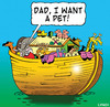 Cartoon: a pet (small) by toons tagged noahs ark history animals pets religion god bible ships vet old testament