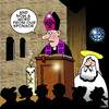 Cartoon: A word from our sponsor (small) by toons tagged religion,church,god,sponsorship,priest,bishop,sponsor,advertising
