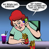Cartoon: Auto correct (small) by toons tagged auto,correct,exercise,fries,chips,obesity,jogging,fat,tummy