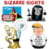 Cartoon: Bizarre (small) by toons tagged trump,atheists,gravestones,cemetary,the,thinker