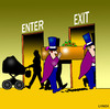 Cartoon: Enter Exit (small) by toons tagged life,death,birth,funeral,cemetary,christening,baptism,afterlife,pram,coffon,undertaker,crematorium,expired,motherhood,parents