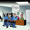 Cartoon: Is he expecting you? (small) by toons tagged police,corporate,raid,is,he,expecting,you,secretary