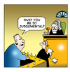 Cartoon: judgemental (small) by toons tagged courtroom,lawyers,judges,prisoner,solicitor,defendant,defence,judgemental