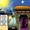 Cartoon: Lost in translation (small) by toons tagged christmas,xmas,nativity,three,wise,men,cheese,snacks,food,bethleham,birth,of,jesus,joseph,and,mary