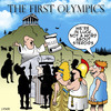 Cartoon: Olympics (small) by toons tagged olympic,games,first,olympics,olimpia,ancient,greece,steroids,doping,athletics,cheating,sporting,rules