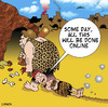 Cartoon: Online dating (small) by toons tagged prehistoric,dating,caveman,romance