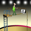 Cartoon: out of order (small) by toons tagged circus,tightrope,walker,performer