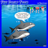 Cartoon: shark attacks (small) by toons tagged addiction,prescription,drugs,anti,depressants,sharks,pharmacy
