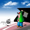 Cartoon: the finish line (small) by toons tagged rally,cars,racetrack,car,racing,chequered,flag,motor,tyres,crash,driving,accident,formula,one,speed