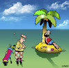 Cartoon: the lost ball (small) by toons tagged golf,desert,island,sport,marooned,castaway,links,clubs,ball