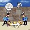 Cartoon: The question is... (small) by toons tagged humpty,dumpty,chef,eggs,cooking,crime,investigation,police,detective,omelette,off,the,wall