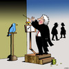 Cartoon: The Songbird (small) by toons tagged conductor,orchestra,birds,busking,band,singing,maestro,baton