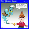 Cartoon: Toupee (small) by toons tagged teepee,hairpiece,genie,in,bottle