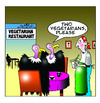 Cartoon: vegies (small) by toons tagged vegetarian,vultures,restaurant,gm,foods,genetically,modified,birds,animals,waiters,chefs,cooks,service,industry