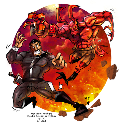 Cartoon: Kick from nowhere (medium) by Garvals tagged hellboy,demon,villain,fire,lava