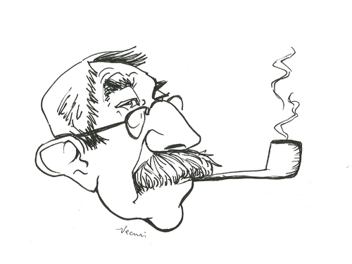 Cartoon: Günter Grass (medium) by necmi oguzer tagged nobelpreis,blechtrommel,grass,günter,deutschland,künstler,autor,literatur,schriftsteller,pfeife,germany
