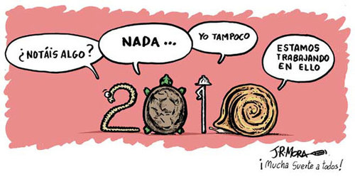 Cartoon: 2010 (medium) by jrmora tagged 2010,recuperacion,economia,trabajo,crisis