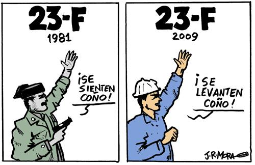 Cartoon: 23F golpe de estado en Spain (medium) by jrmora tagged 23f,espain,militares,tejero,milan,bosh