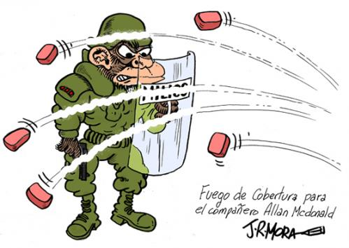 Cartoon: Allan McDonald detenido Honduras (medium) by jrmora tagged allan,mcdonald,honduras,golpe,de,estado