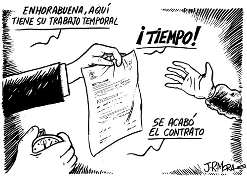 Cartoon: Contrato temporal (medium) by jrmora tagged contrato,minijob,trabajo,temporal,empleo,spain