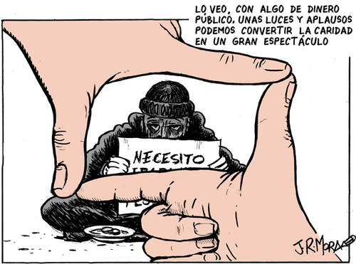 Cartoon: Espectaculo (medium) by jrmora tagged pobreza,tv,sensacionalismo,solidaridad,espectaculo