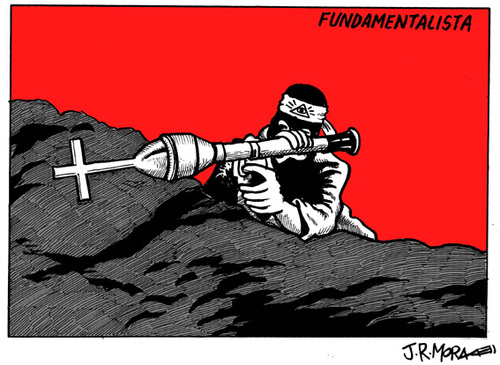 Cartoon: Fundamentalista (medium) by jrmora tagged fundamentalismo,terrorismo,religiones,atentados,noruega,oslo,terror