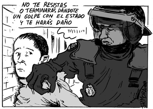 Cartoon: Golpe de Estado (medium) by jrmora tagged policia,disturbios,agresion,actuacion,policial,manifestaciones,detencion