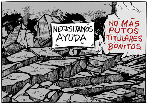 Cartoon: Haiti earthquake spanish (medium) by jrmora tagged haiti,earthquake,terremoto,titulares