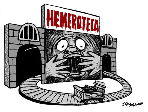Cartoon: Hemeroteca (medium) by jrmora tagged prensa,periodismo,noticias,hemeroteca