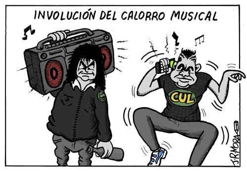 Cartoon: Involucion de los reproductores (medium) by jrmora tagged musica,ipod,radio,casette,dvd,mp3