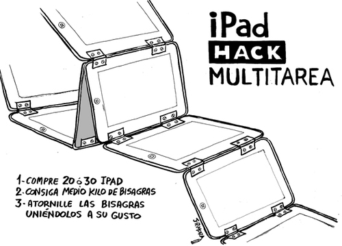 Cartoon: Ipad hack multitask (medium) by jrmora tagged ipad,apple,mac,multitask
