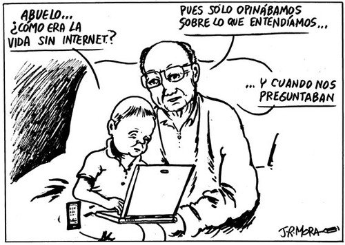 Cartoon: La vida antes de internet (medium) by jrmora tagged internet,opinion