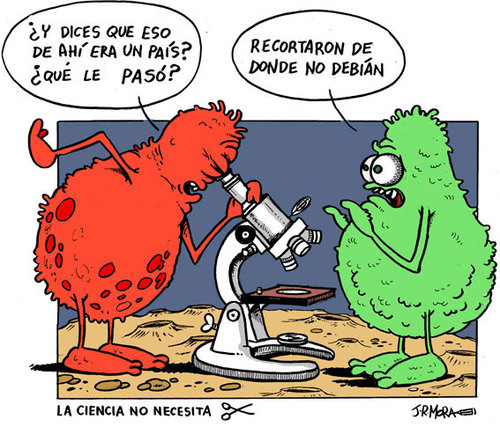 Cartoon: Por la ciencia (medium) by jrmora tagged ciencia,presupuesto,gobierno,tijeras