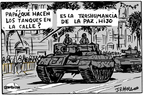 Cartoon: Tanques en la calle (medium) by jrmora tagged desfile,tanques,armas,ejercito,soldados,hispanidad,spain