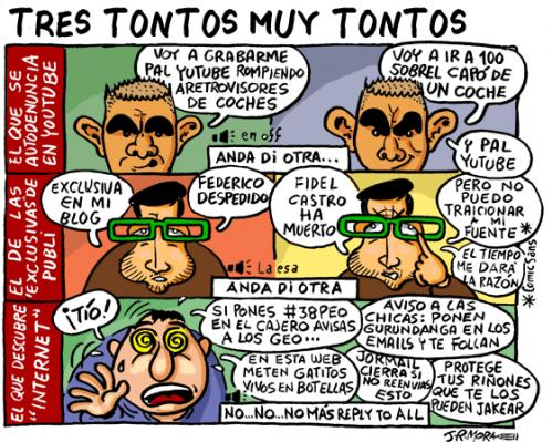 Cartoon: Tres tontos muy tontos (medium) by jrmora tagged internet,tontos,fun
