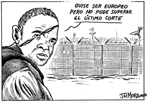 Cartoon: Valla de Melilla (medium) by jrmora tagged spain,cuchilllas,valla,inmigracion,melilla