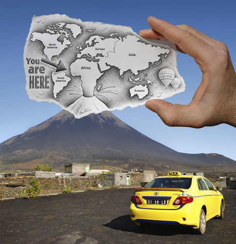 Cartoon: 1 - Pencil Vs Camera for AOC (medium) by BenHeine tagged continent,artofficialconcept,land,countries,culture,tourism,trip,taxi,drive,concept,official,media,mixed,volcano,heine,ben,camera,vs,pencil,volcan,geography,map,world,gallery,vert,cap,verde,cape,photography,drawing,art,benheine