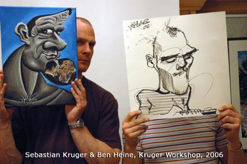 Cartoon: Sebastian Kruger and Ben Heine (medium) by BenHeine tagged sebastian,kruger,friend,portrait,draw,atelier,art,national,caricaturist,network,eachother,ncn,ben,heine,usa,artist,rolling,stones,caricature,international,workshop,germany,talent,funny,hold,crazy,painting,technique,popular
