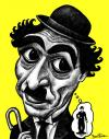 Cartoon: Charlie Chaplin (small) by BenHeine tagged charlie,chaplin,legend,usa,humour,the,dictator,film,actor,mime,mise,en,abime,comique,laugh,acteur,icon,charlot,character,uniform,costume,fake,identity,modest,funny,drole,unique,makeup,personnage,fiction,movie,entertainment,ben,heine,controverse,caricature