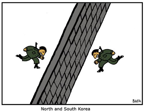 Cartoon: Korea (medium) by Farhad Foroutanian tagged politics,mauer,korea,krieg,konflikt,gewalt,politik