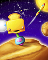 Cartoon: Toaster Bot (small) by SuperSillyStudios tagged alien robot toaster toast bread space rocket ship science fiction asteroid