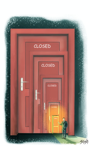 Cartoon: Door (medium) by bacsa tagged door