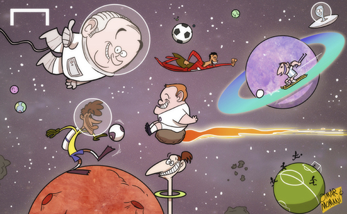 Cartoon: Blatter predicts interplanetary (medium) by omomani tagged argentina,blatter,brazil,cristiano,ronaldo,england,ibrahimovic,messi,neymar,portugal,rooney,sweden