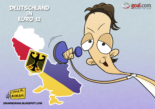 Cartoon: Deutschland in Euro 2012 (medium) by omomani tagged ozil,germany,real,madrid,ukraine,poland,euro,12