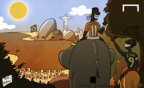 Cartoon: Elephants and Lions to Brazil (medium) by omomani tagged cameroon,cote,ivoire,drogba,etoo,world,cup,qualifications