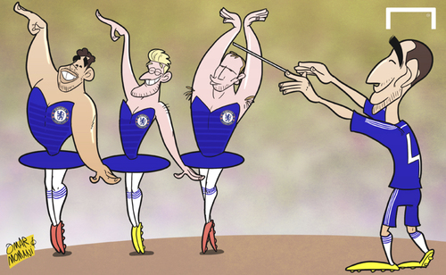 Cartoon: Fabregas orchestrates Chelsea (medium) by omomani tagged andre,schurrle,branislav,ivanovic,chelsea,diego,costa,fabregas,premier,league