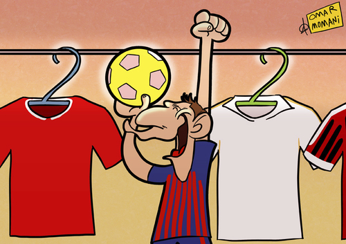 Cartoon: Happy 2012 (medium) by omomani tagged messi,barcelona,real,madrid,ac,milan,manchester,united