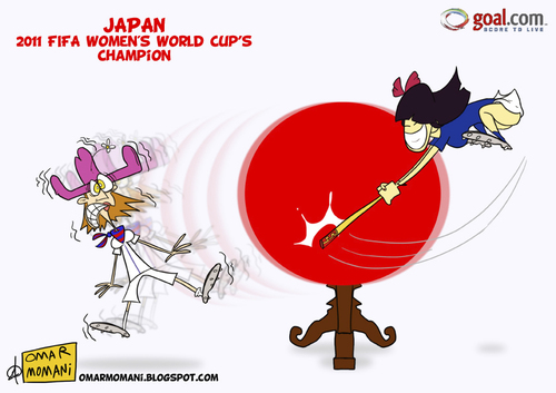 Cartoon: Japan FWWC 2011 champions (medium) by omomani tagged japan,2011,fifa,women,world,cup,soccer,football,usa,cartoon