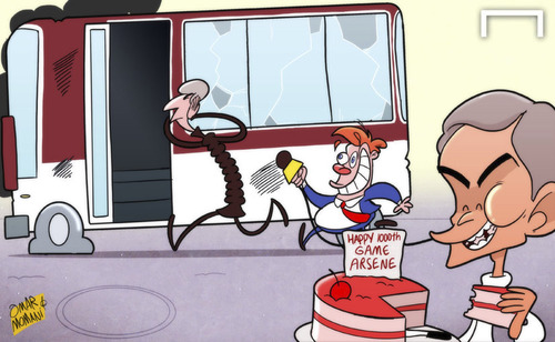 Cartoon: Mourinho spoils Wenger party (medium) by omomani tagged arsenal,chelsea,mourinho,premier,league,wenger