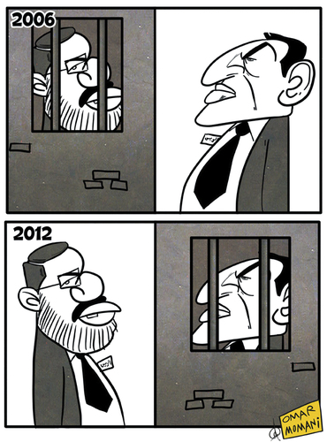 Cartoon: Mursi and Mubarak (medium) by omomani tagged mursi,and,mubarak,egypt